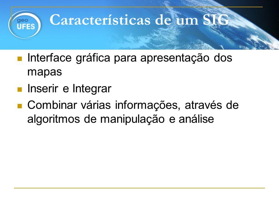Características de um SIG Interface gráfica para apresentação dos mapas Inserir e Integrar Combinar várias informações, através de algoritmos de manip