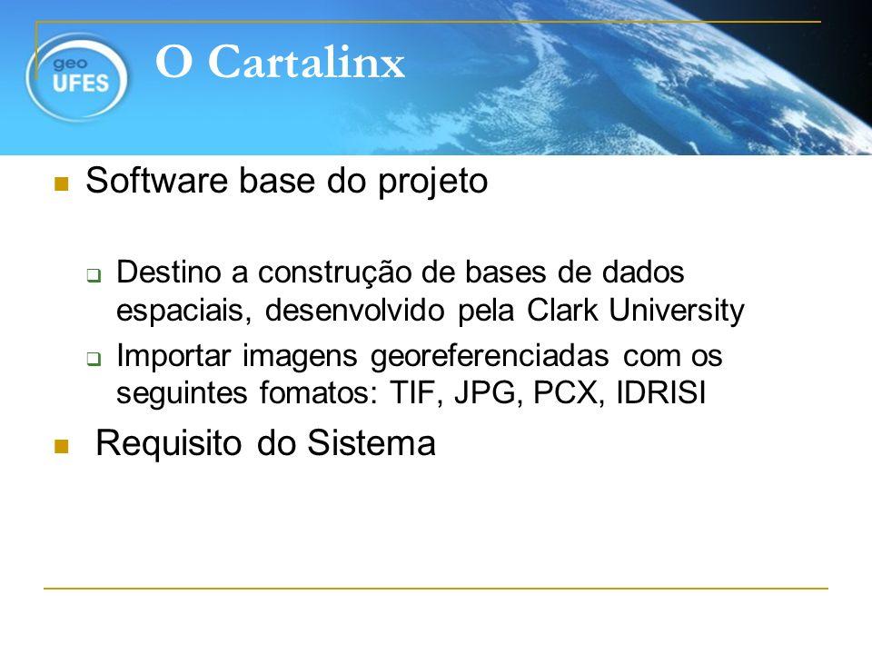 O Cartalinx Software base do projeto Destino a construção de bases de dados espaciais, desenvolvido pela Clark University Importar imagens georeferenc