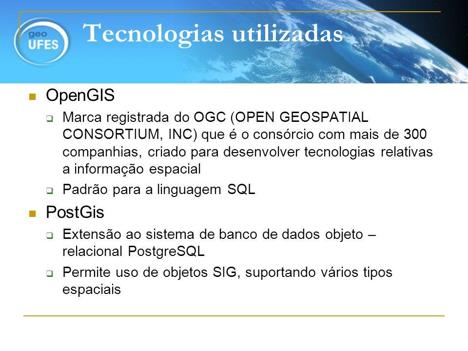 Tecnologias utilizadas OpenGIS Marca registrada do OGC (OPEN GEOSPATIAL CONSORTIUM, INC) que é o consórcio com mais de 300 companhias, criado para des