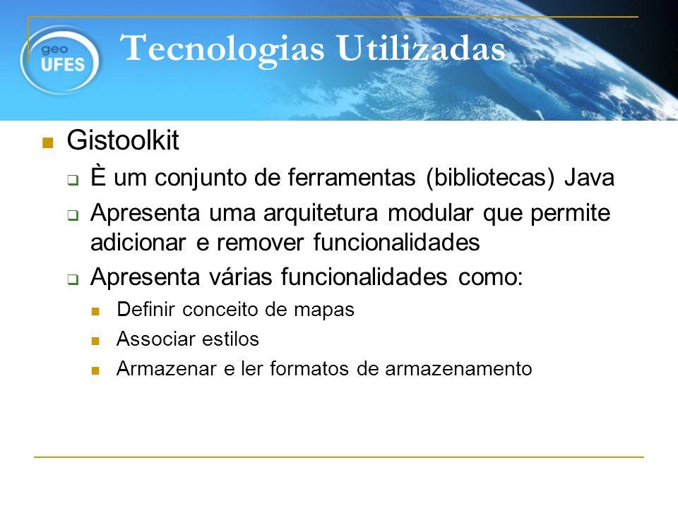 Tecnologias Utilizadas Gistoolkit È um conjunto de ferramentas (bibliotecas) Java Apresenta uma arquitetura modular que permite adicionar e remover fu