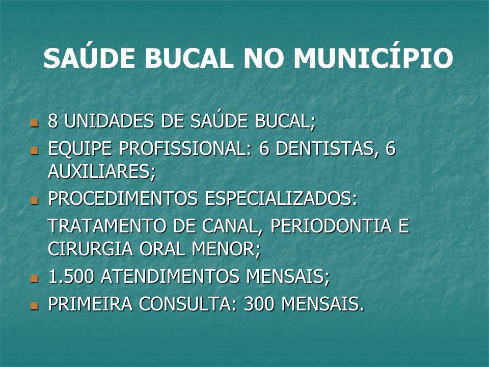 SAÚDE BUCAL NO MUNICÍPIO 8 UNIDADES DE SAÚDE BUCAL; 8 UNIDADES DE SAÚDE BUCAL; EQUIPE PROFISSIONAL: 6 DENTISTAS, 6 AUXILIARES; EQUIPE PROFISSIONAL: 6