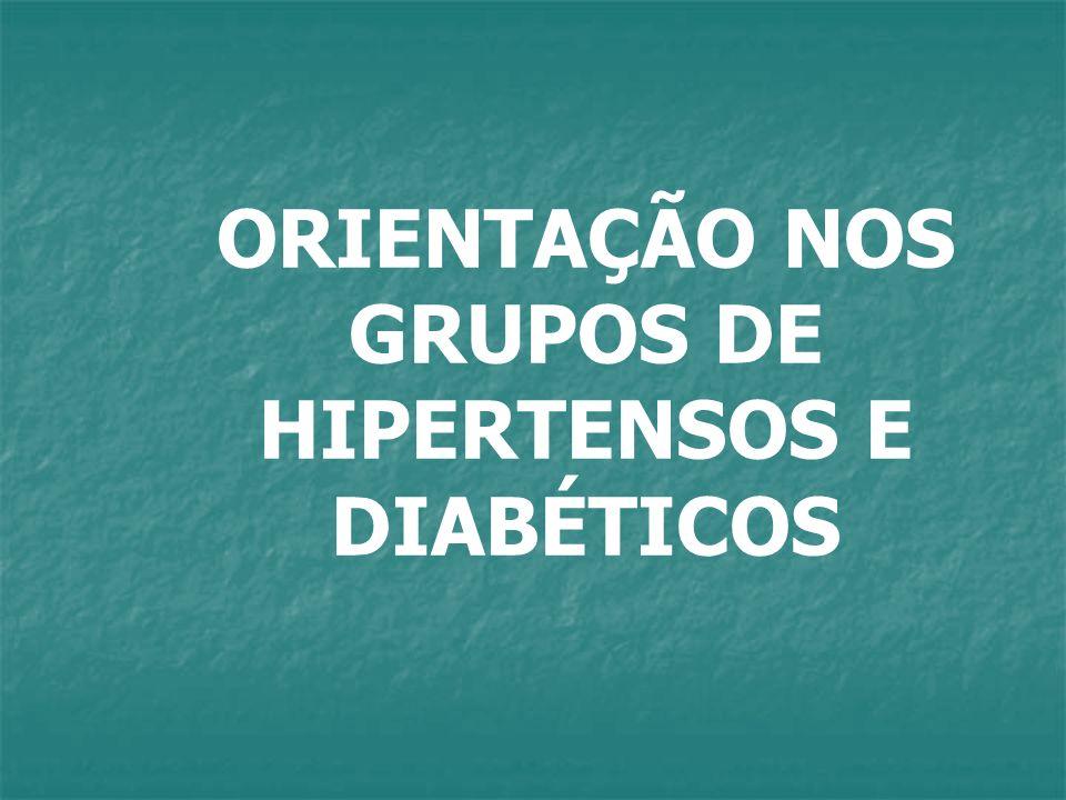 ORIENTAÇÃO NOS GRUPOS DE HIPERTENSOS E DIABÉTICOS