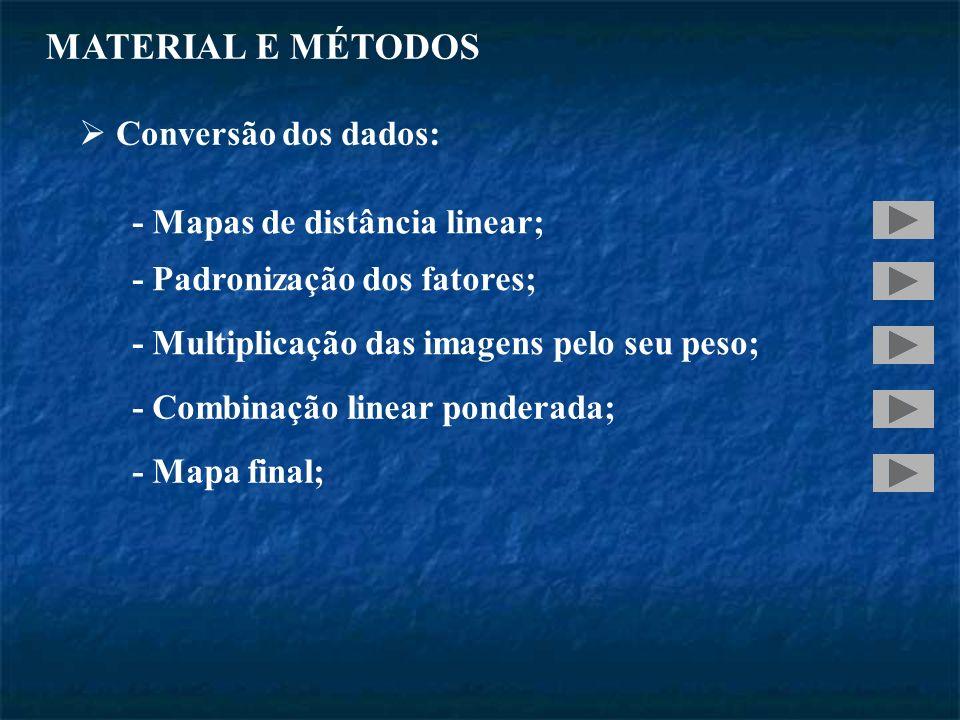 MATERIAL E MÉTODOS Conversão dos dados: - Mapas de distância linear; - Padronização dos fatores; - Multiplicação das imagens pelo seu peso; - Combinação linear ponderada; - Mapa final;
