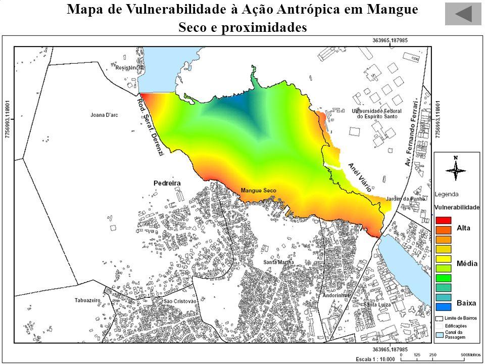 Mapa de Vulnerabilidade à Ação Antrópica em Mangue Seco e proximidades