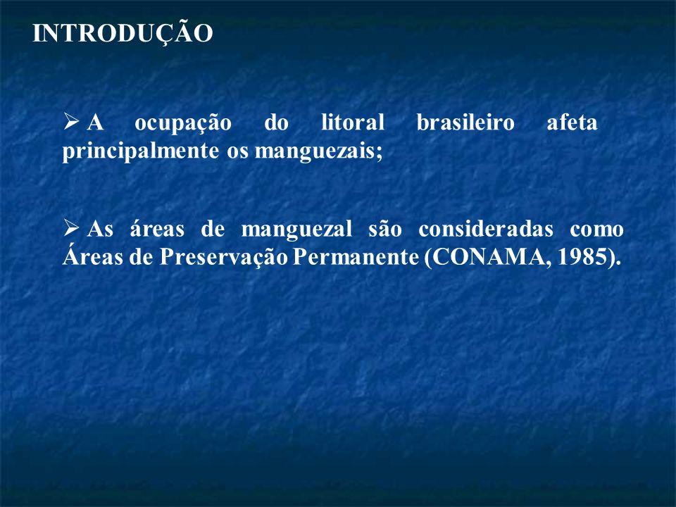 INTRODUÇÃO A ocupação do litoral brasileiro afeta principalmente os manguezais; As áreas de manguezal são consideradas como Áreas de Preservação Permanente (CONAMA, 1985).
