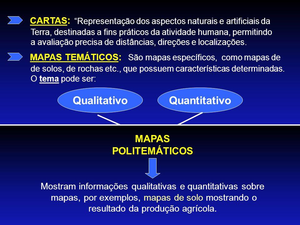 CARTAS : Representação dos aspectos naturais e artificiais da Terra, destinadas a fins práticos da atividade humana, permitindo a avaliação precisa de