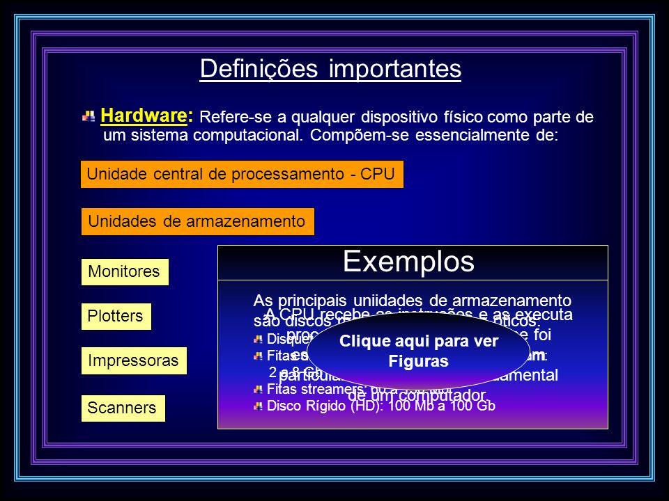 Definições importantes Hardware: Refere-se a qualquer dispositivo físico como parte de um sistema computacional. Compõem-se essencialmente de: Unidade