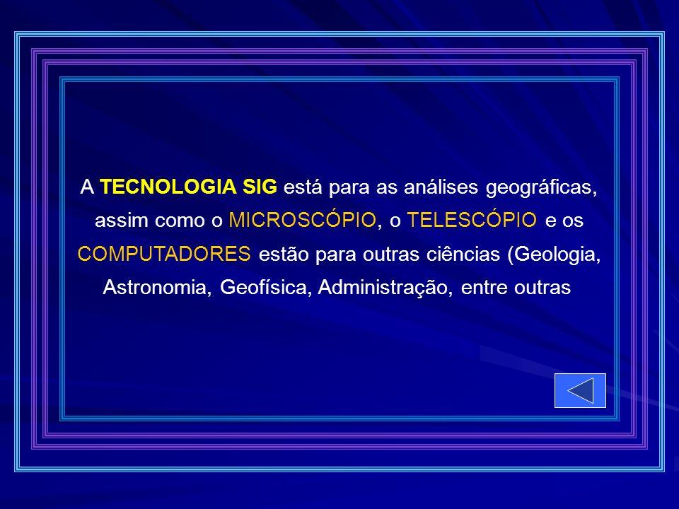 A TECNOLOGIA SIG está para as análises geográficas, assim como o MICROSCÓPIO, o TELESCÓPIO e os COMPUTADORES estão para outras ciências (Geologia, Ast