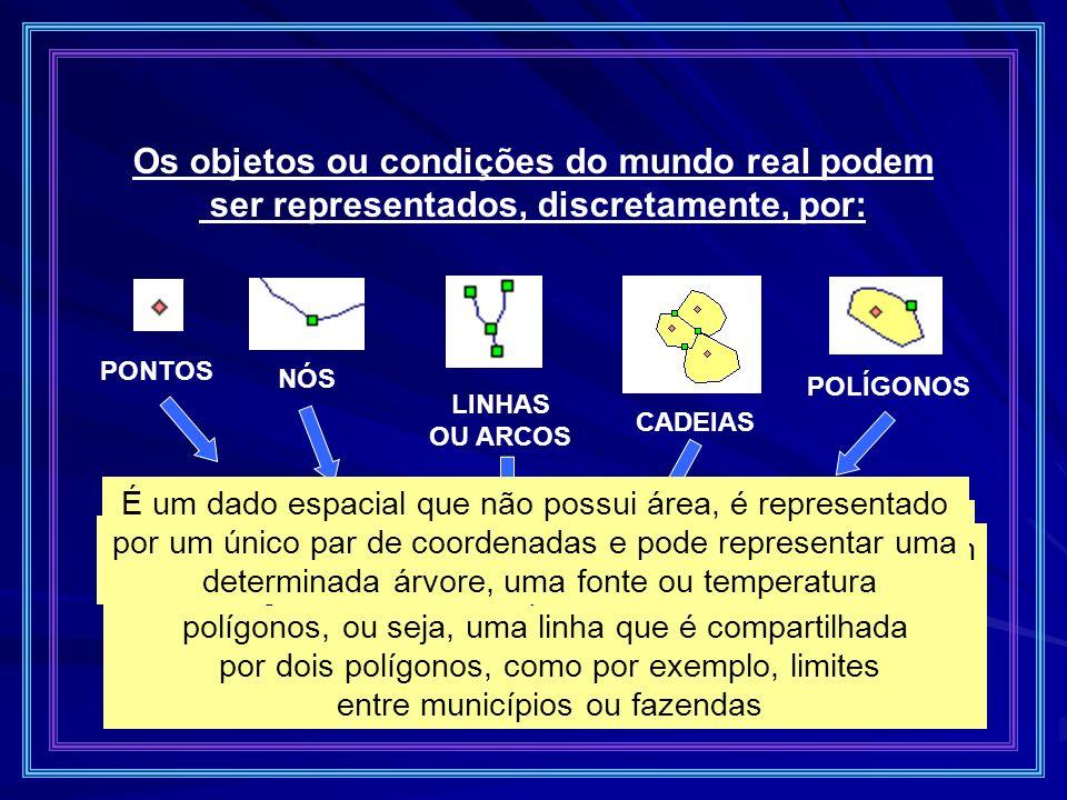 Os objetos ou condições do mundo real podem ser representados, discretamente, por: PONTOS NÓS LINHAS OU ARCOS CADEIAS POLÍGONOS São áreas definidas po