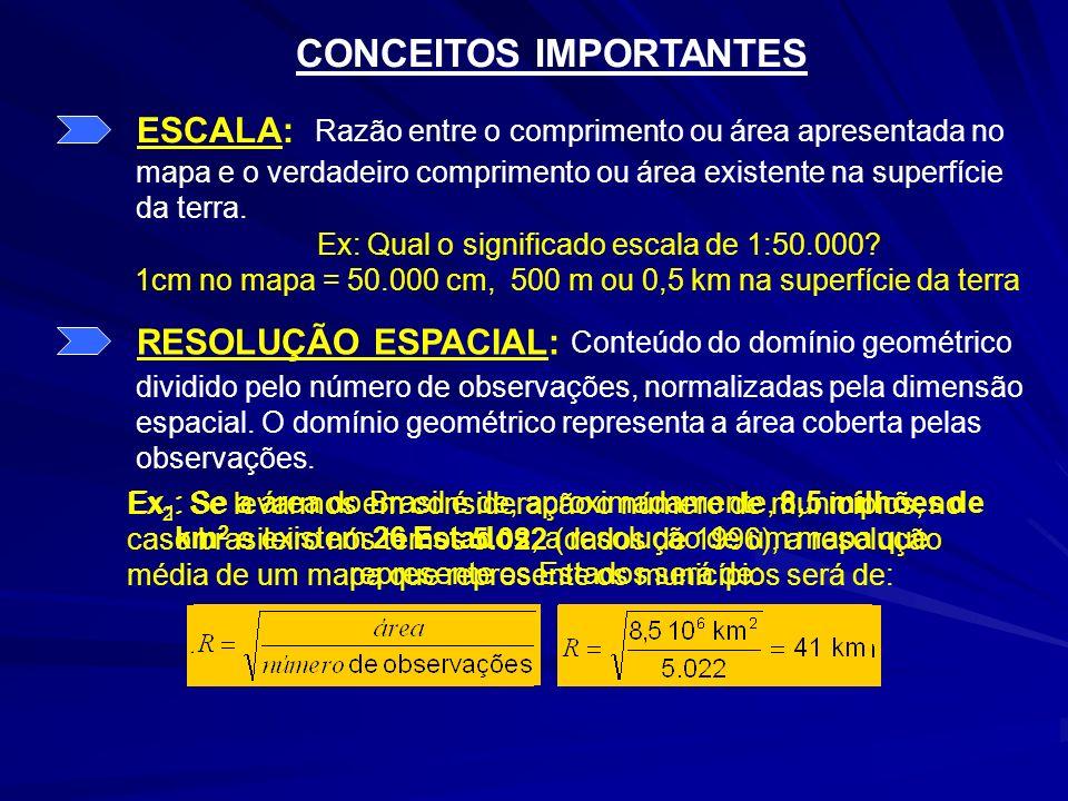CONCEITOS IMPORTANTES ESCALA: Ex: Qual o significado escala de 1:50.000? 1cm no mapa = 50.000 cm, 500 m ou 0,5 km na superfície da terra RESOLUÇÃO ESP