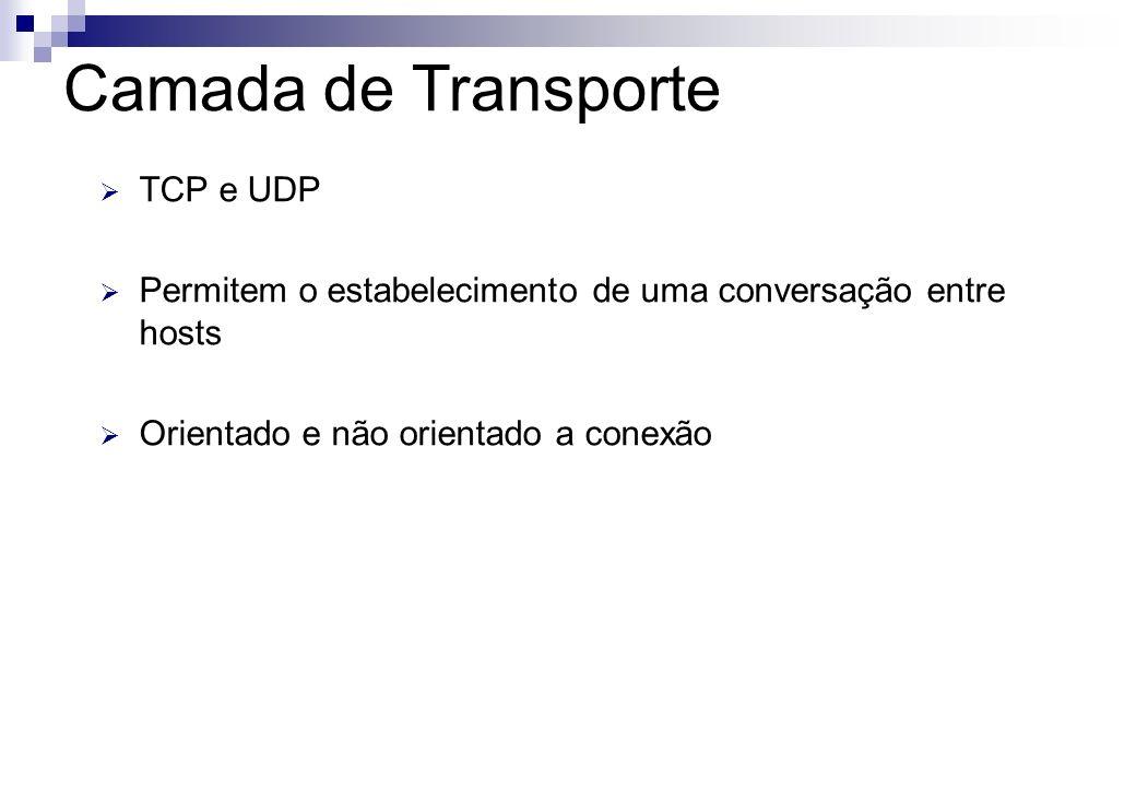 TCP e UDP Permitem o estabelecimento de uma conversação entre hosts Orientado e não orientado a conexão Camada de Transporte