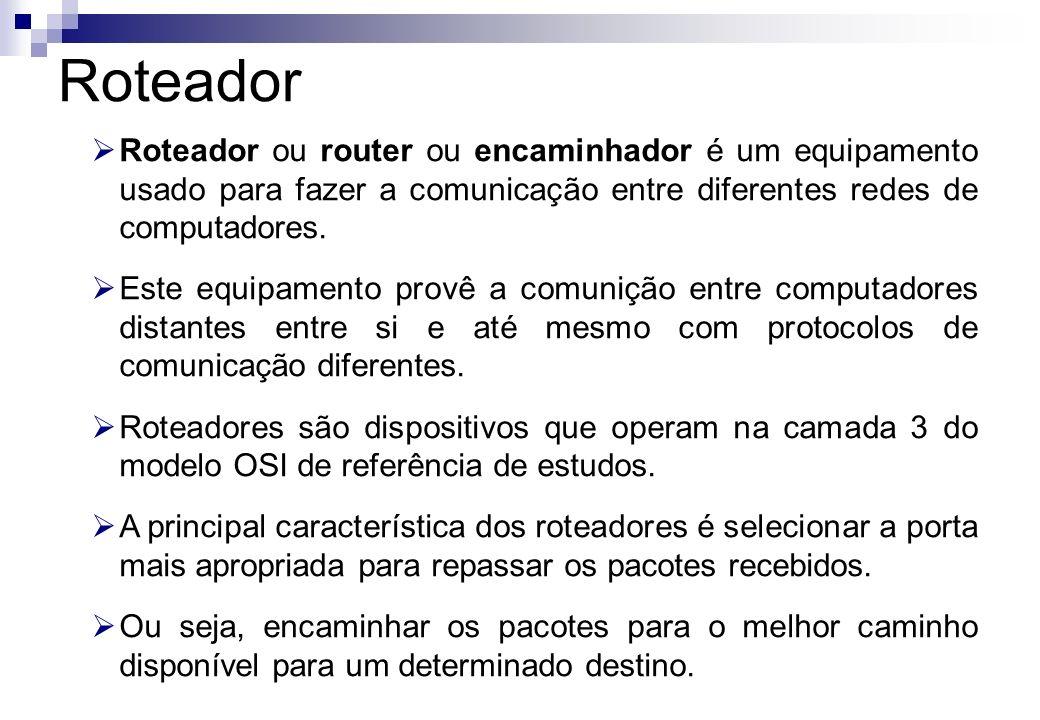 Roteador Roteador ou router ou encaminhador é um equipamento usado para fazer a comunicação entre diferentes redes de computadores. Este equipamento p