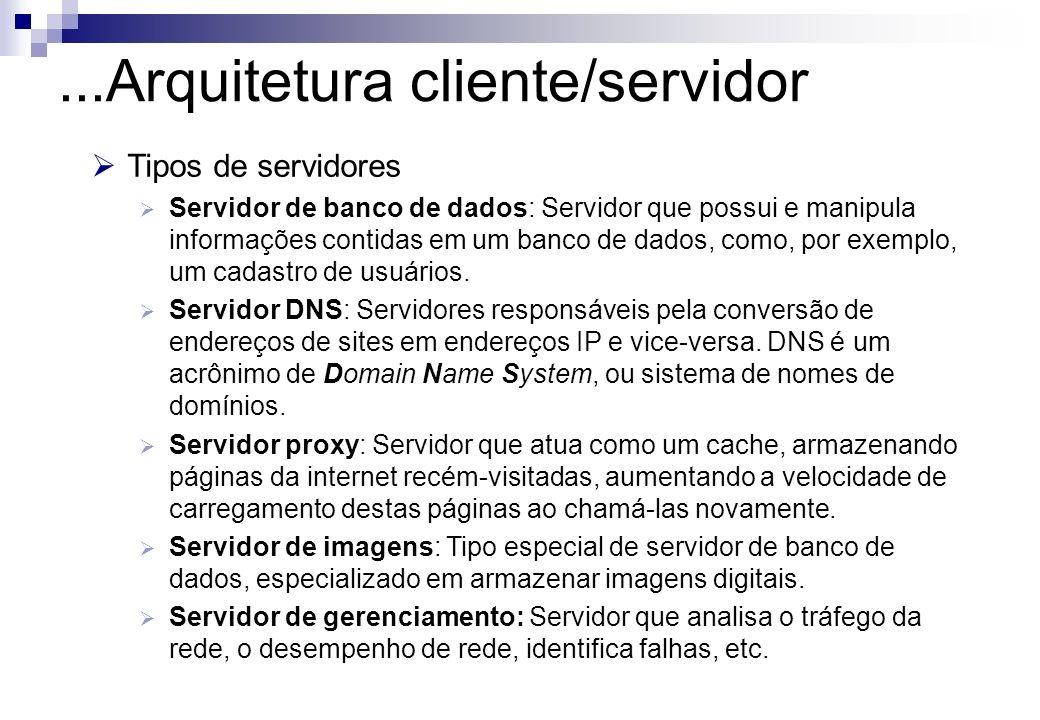 Tipos de servidores Servidor de banco de dados: Servidor que possui e manipula informações contidas em um banco de dados, como, por exemplo, um cadast