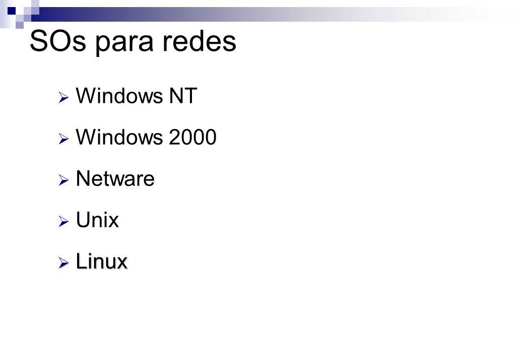 Windows NT Windows 2000 Netware Unix Linux Linux SOs para redes