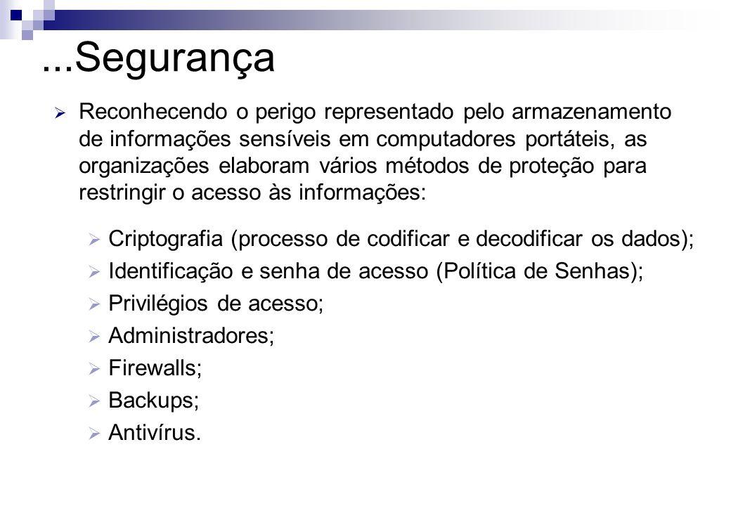 Reconhecendo o perigo representado pelo armazenamento de informações sensíveis em computadores portáteis, as organizações elaboram vários métodos de p