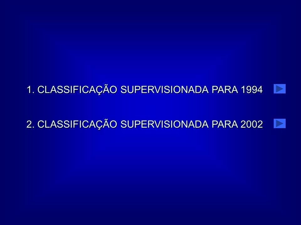 1. CLASSIFICAÇÃO SUPERVISIONADA PARA 1994 2. CLASSIFICAÇÃO SUPERVISIONADA PARA 2002