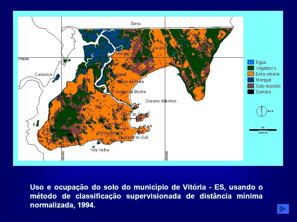 Uso e ocupação do solo do município de Vitória - ES, usando o método de classificação supervisionada de distância mínima normalizada, 1994.