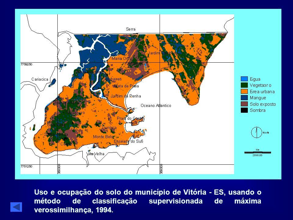 Uso e ocupação do solo do município de Vitória - ES, usando o método de classificação supervisionada de máxima verossimilhança, 1994.