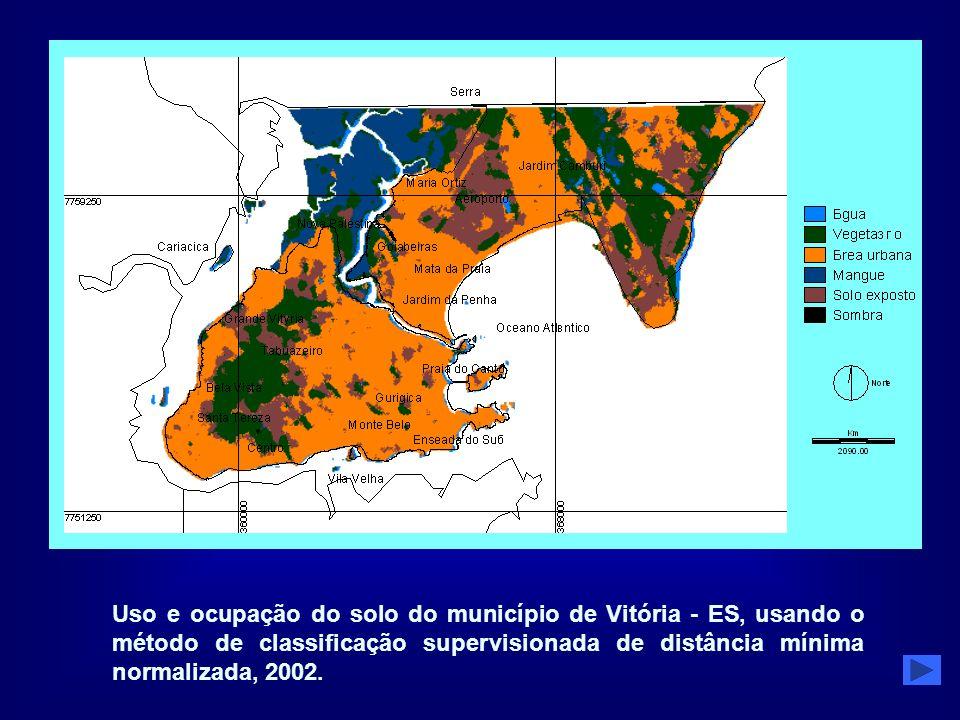 Uso e ocupação do solo do município de Vitória - ES, usando o método de classificação supervisionada de distância mínima normalizada, 2002.