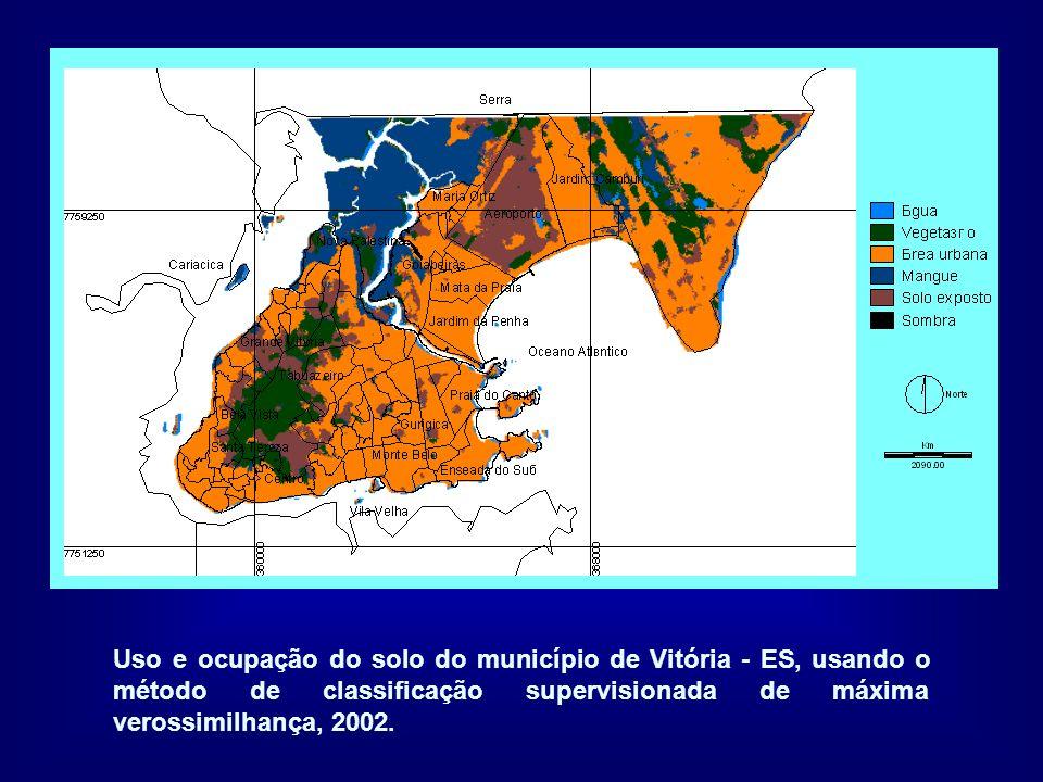 Uso e ocupação do solo do município de Vitória - ES, usando o método de classificação supervisionada de máxima verossimilhança, 2002.