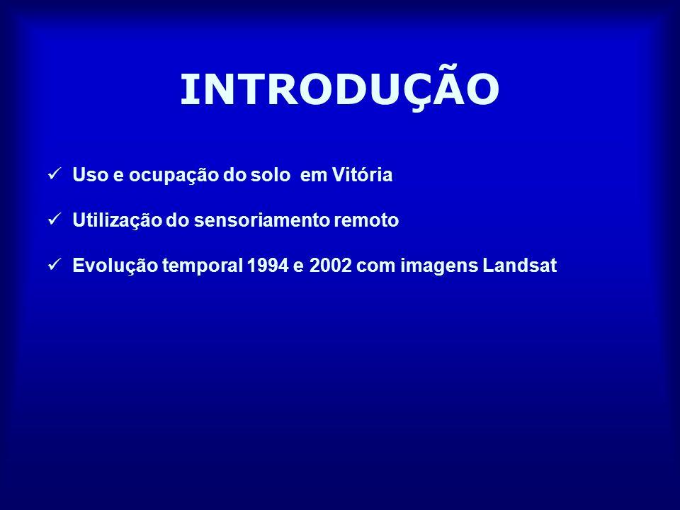 INTRODUÇÃO Uso e ocupação do solo em Vitória Utilização do sensoriamento remoto Evolução temporal 1994 e 2002 com imagens Landsat
