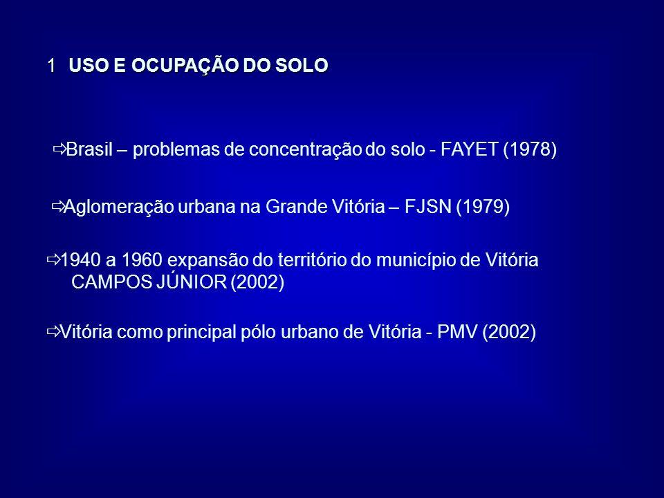 1 USO E OCUPAÇÃO DO SOLO ð Brasil – problemas de concentração do solo - FAYET (1978) ð Aglomeração urbana na Grande Vitória – FJSN (1979) ð 1940 a 196