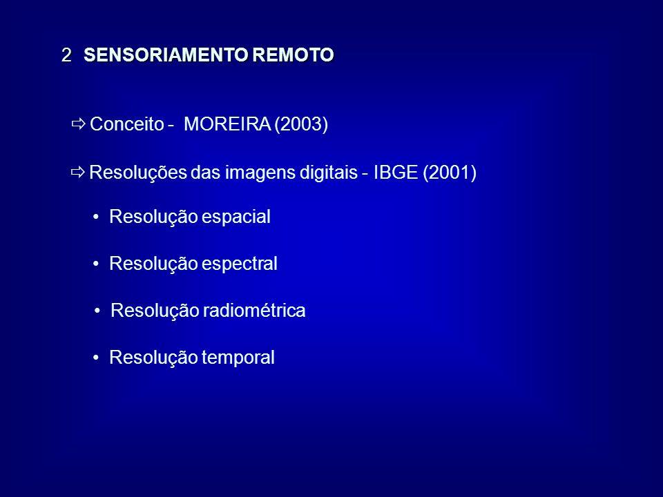 2 SENSORIAMENTO REMOTO ð Conceito - MOREIRA (2003) ð Resoluções das imagens digitais - IBGE (2001) Resolução espacial Resolução espectral Resolução ra