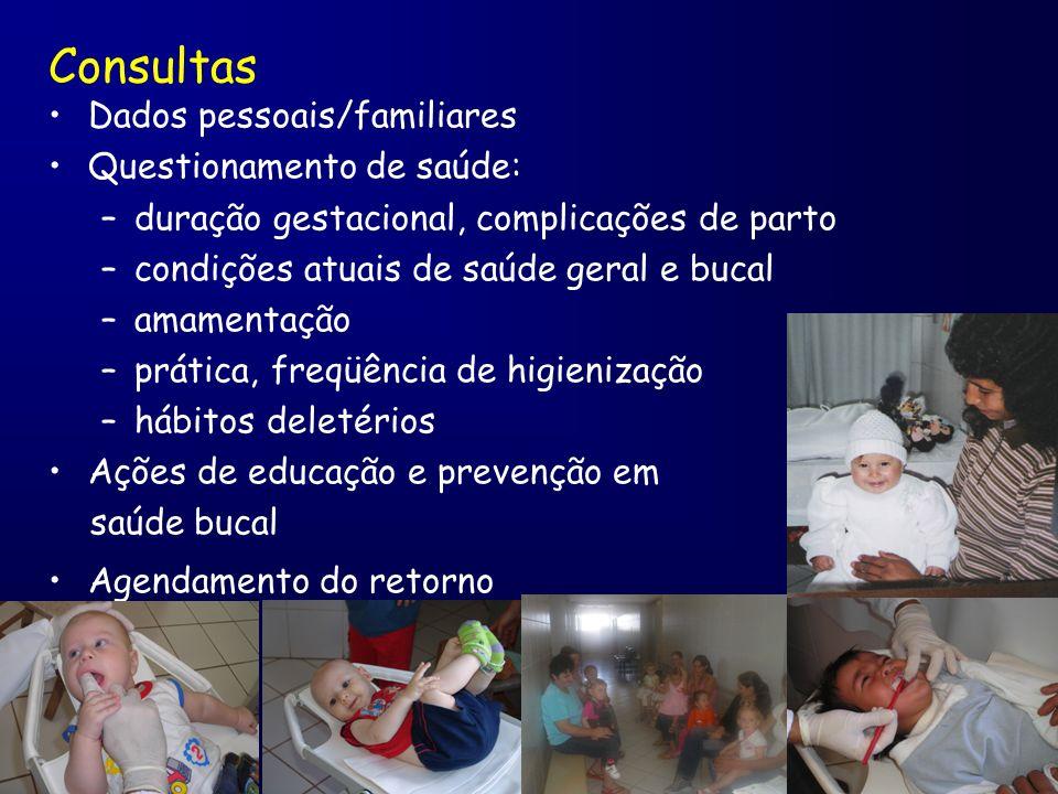Consultas Dados pessoais/familiares Questionamento de saúde: –duração gestacional, complicações de parto –condições atuais de saúde geral e bucal –ama