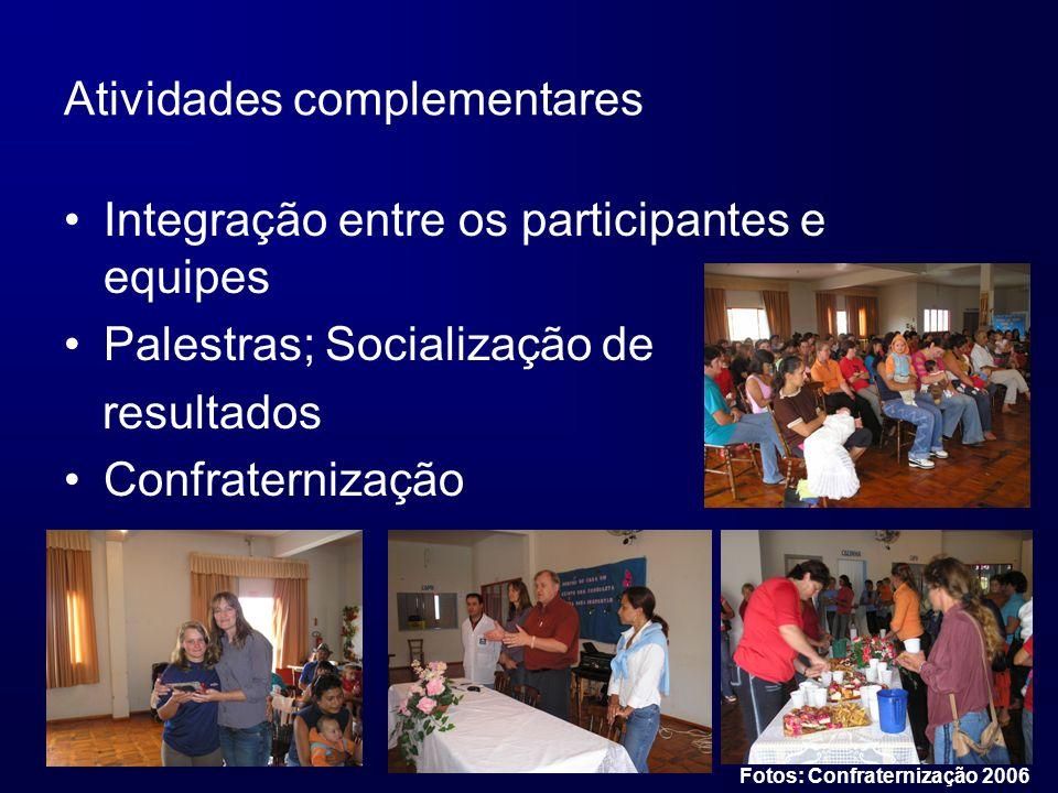 Atividades complementares Integração entre os participantes e equipes Palestras; Socialização de resultados Confraternização Fotos: Confraternização 2