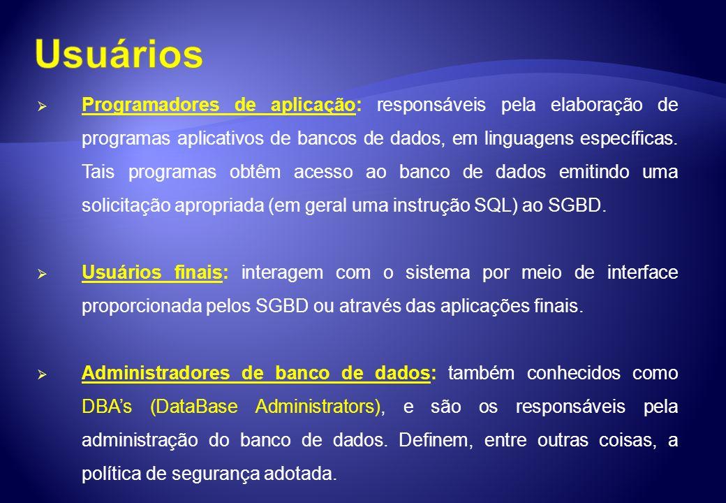 Programadores de aplicação: responsáveis pela elaboração de programas aplicativos de bancos de dados, em linguagens específicas. Tais programas obtêm