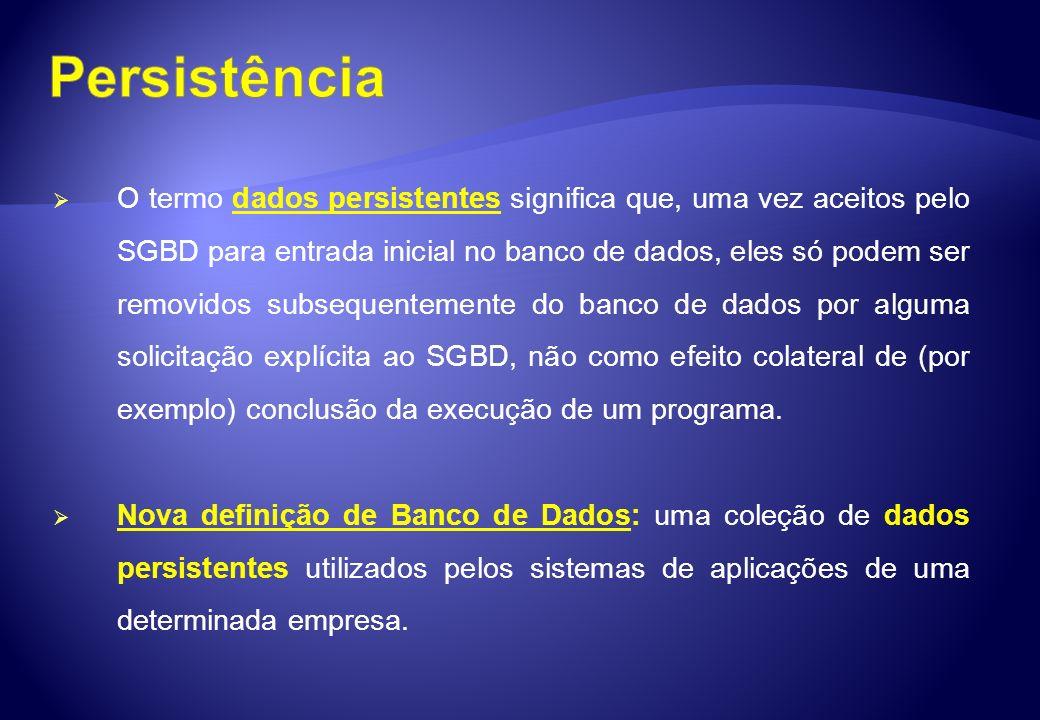 O termo dados persistentes significa que, uma vez aceitos pelo SGBD para entrada inicial no banco de dados, eles só podem ser removidos subsequentemente do banco de dados por alguma solicitação explícita ao SGBD, não como efeito colateral de (por exemplo) conclusão da execução de um programa.