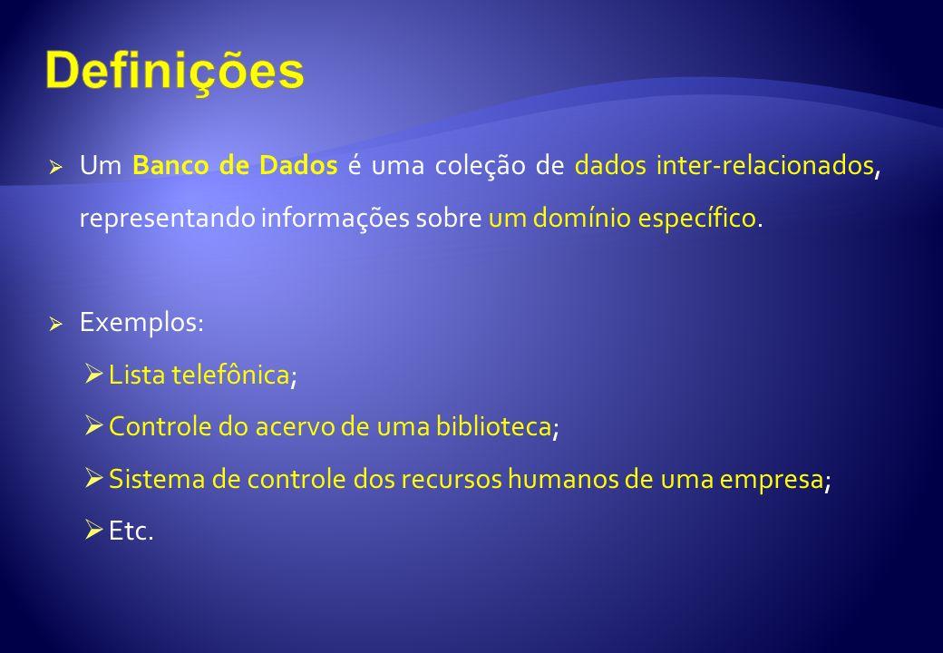 Um Banco de Dados é uma coleção de dados inter-relacionados, representando informações sobre um domínio específico. Exemplos: Lista telefônica; Contro