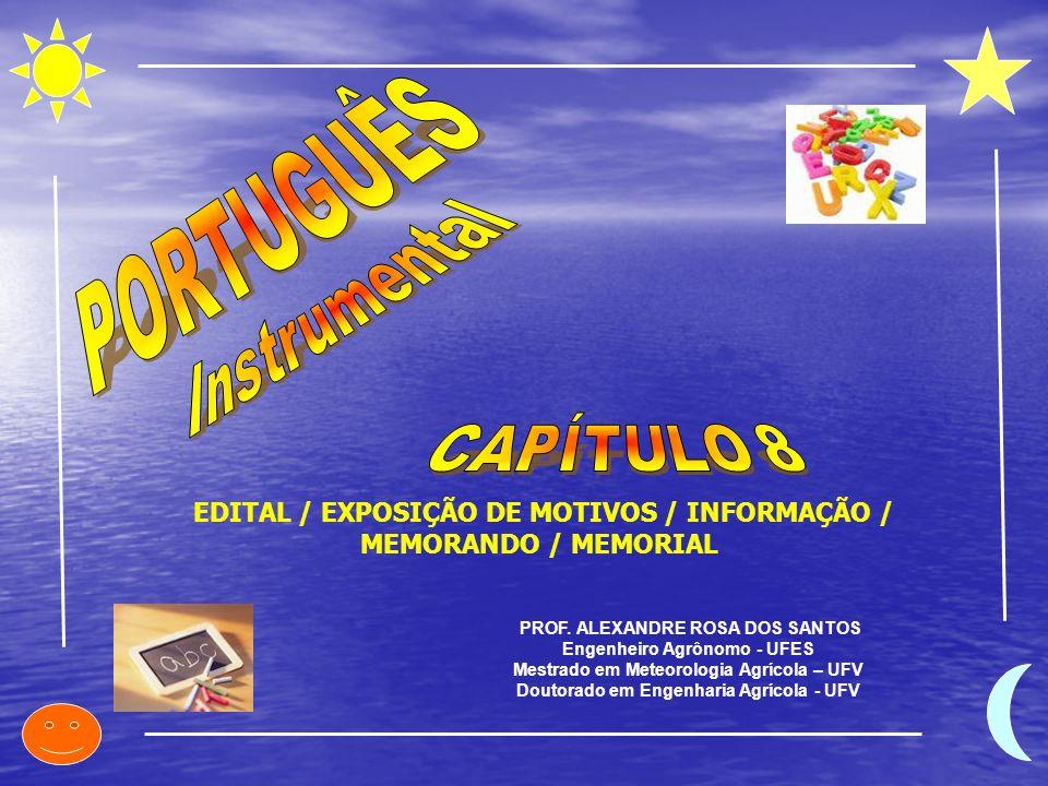 PROF. ALEXANDRE ROSA DOS SANTOS Engenheiro Agrônomo - UFES Mestrado em Meteorologia Agrícola – UFV Doutorado em Engenharia Agrícola - UFV EDITAL / EXP