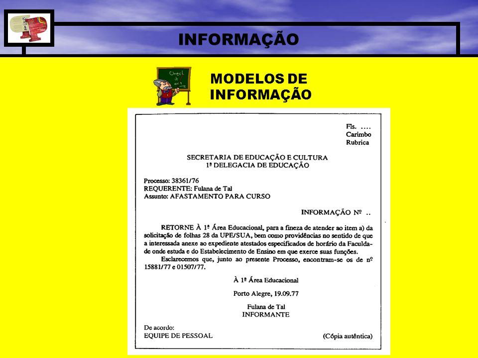 MODELOS DE INFORMAÇÃO