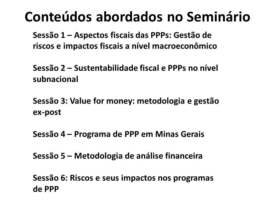 Conteúdos abordados no Seminário Sessão 1 – Aspectos fiscais das PPPs: Gestão de riscos e impactos fiscais a nível macroeconômico Sessão 2 – Sustentabilidade fiscal e PPPs no nível subnacional Sessão 3: Value for money: metodologia e gestão ex-post Sessão 4 – Programa de PPP em Minas Gerais Sessão 5 – Metodologia de análise financeira Sessão 6: Riscos e seus impactos nos programas de PPP