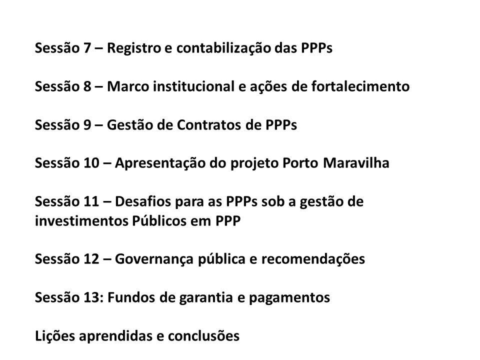 Sessão 7 – Registro e contabilização das PPPs Sessão 8 – Marco institucional e ações de fortalecimento Sessão 9 – Gestão de Contratos de PPPs Sessão 1