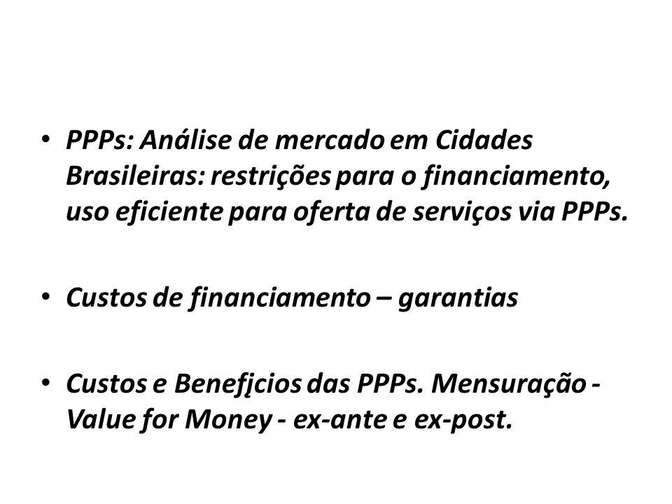 PPPs: Análise de mercado em Cidades Brasileiras: restrições para o financiamento, uso eficiente para oferta de serviços via PPPs. Custos de financiame