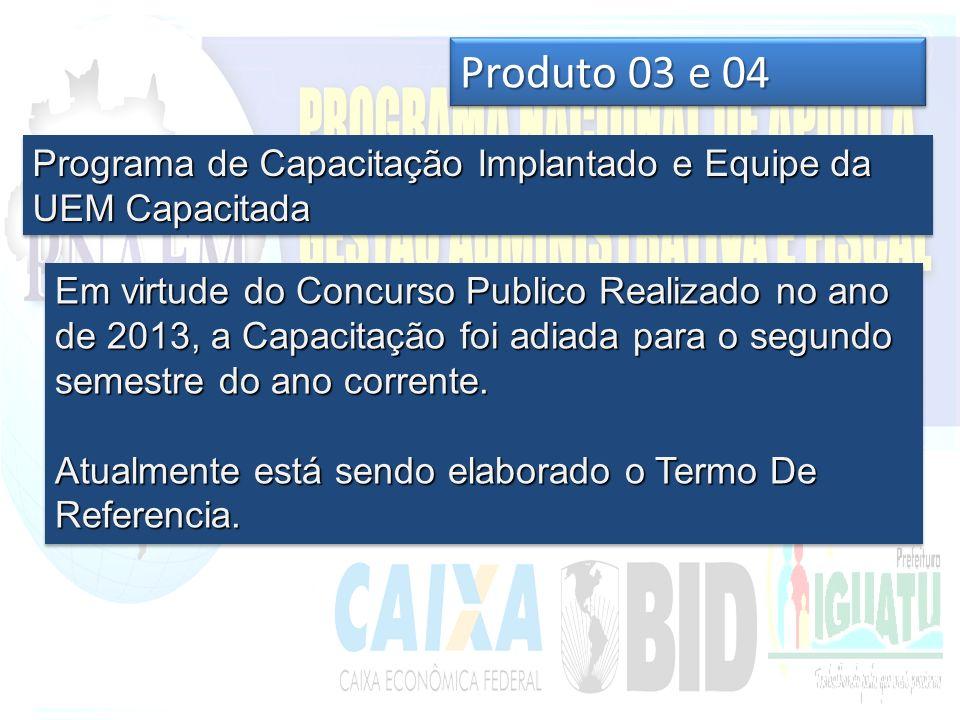 Produto 03 e 04 Programa de Capacitação Implantado e Equipe da UEM Capacitada Em virtude do Concurso Publico Realizado no ano de 2013, a Capacitação foi adiada para o segundo semestre do ano corrente.