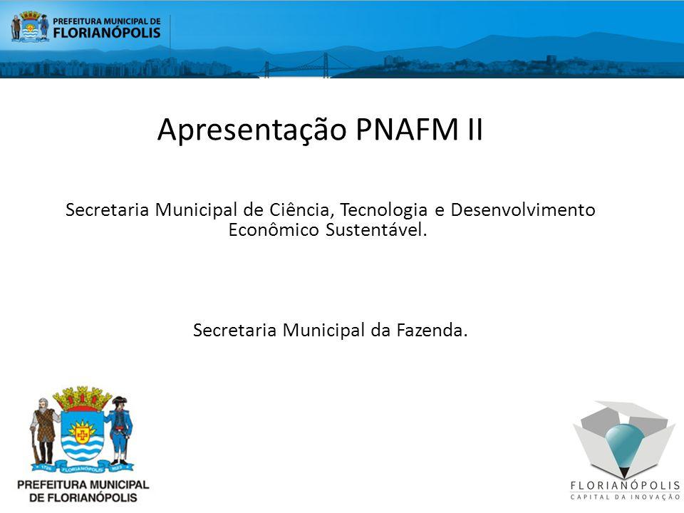 AGENDA Visão geral do PNAFM II - Florianópolis Investimentos Visão integrada dos produtos Portal do cidadão Sistema de rastreabilidade Sistema de geoprocessamento Sistema Tributário Municipal Situação Atual Lições aprendidas UEM