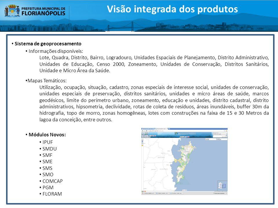 Sistema de geoprocesamento Informações disponíveis: Lote, Quadra, Distrito, Bairro, Logradouro, Unidades Espaciais de Planejamento, Distrito Administr