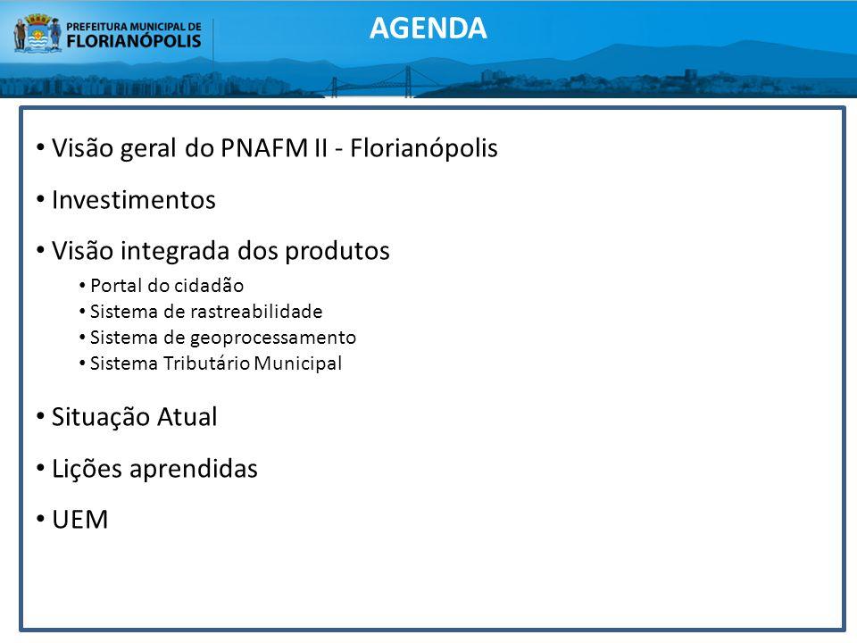 AGENDA Visão geral do PNAFM II - Florianópolis Investimentos Visão integrada dos produtos Portal do cidadão Sistema de rastreabilidade Sistema de geop