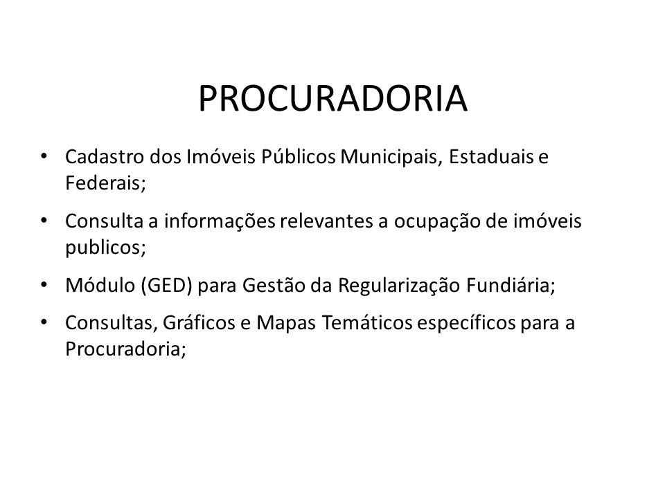 Cadastro dos Imóveis Públicos Municipais, Estaduais e Federais; Consulta a informações relevantes a ocupação de imóveis publicos; Módulo (GED) para Ge