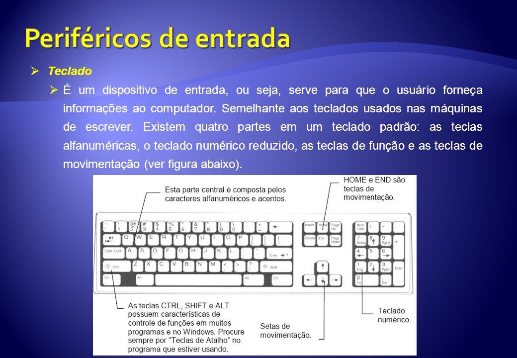 Teclado É um dispositivo de entrada, ou seja, serve para que o usuário forneça informações ao computador. Semelhante aos teclados usados nas máquinas