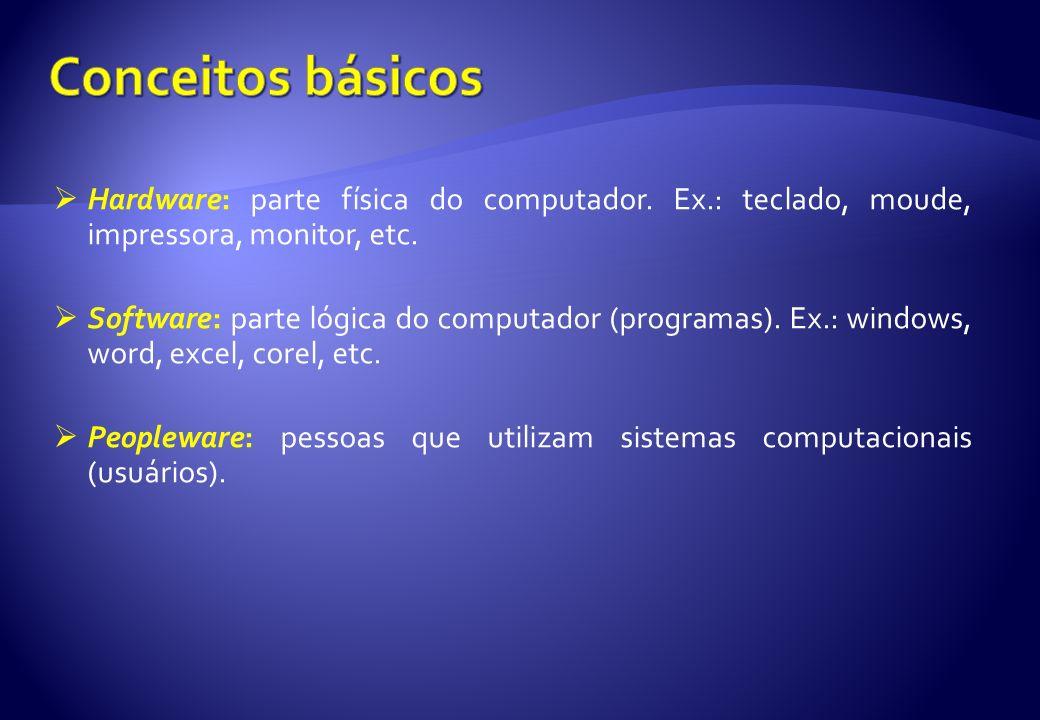 Introdução aos computadores Os dados no ambiente dos computadores são codificados, manipulados e armazenados para serem usados sob duas condições, por exemplo: sim/nãoaberto/fechadoligado/desligadofalso/verdadeiro Na terminologia dos computadores, as duas condições são representadas por notações binárias através do uso de 1 (um) e 0 (zero) Cada dígito binário é chamado de bit e a complexidade dos circuitos dos computadores é sempre descrita em termos de número de bits que pode ser transmitido simultaneamente OBS 1 : Atualmente, os computadores pessoais (personal computer – PC) usam 8, 16, 32 e 64 bits.