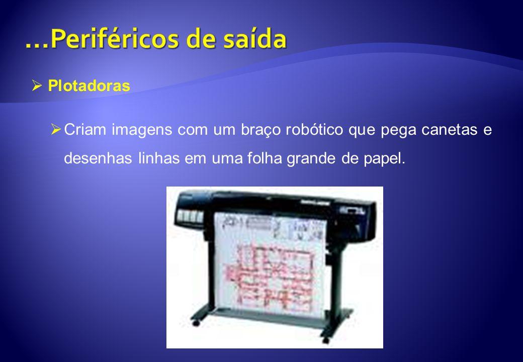 Plotadoras Criam imagens com um braço robótico que pega canetas e desenhas linhas em uma folha grande de papel.