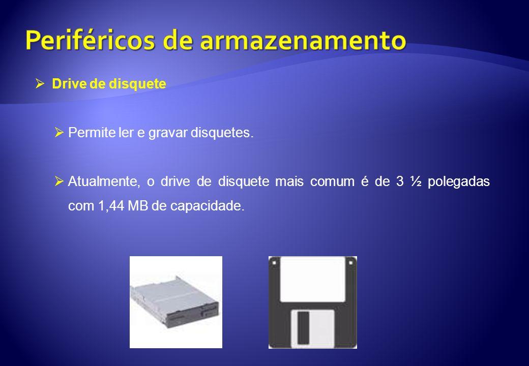 Drive de disquete Permite ler e gravar disquetes. Atualmente, o drive de disquete mais comum é de 3 ½ polegadas com 1,44 MB de capacidade.