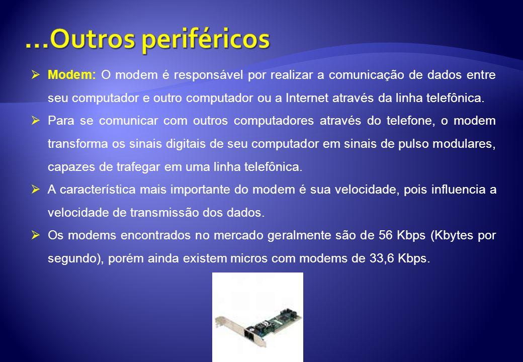 Modem: O modem é responsável por realizar a comunicação de dados entre seu computador e outro computador ou a Internet através da linha telefônica. Pa