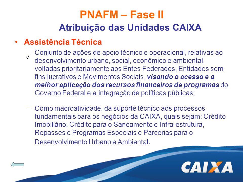 PNAFM – Fase II Atribuição das Unidades CAIXA c Assistência Técnica –Conjunto de ações de apoio técnico e operacional, relativas ao desenvolvimento ur