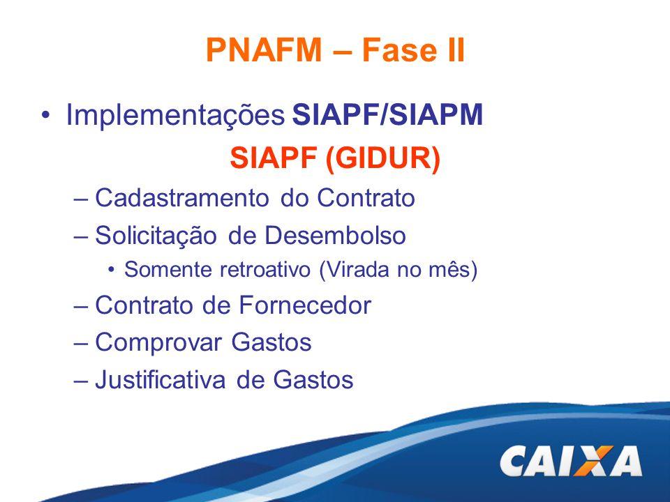 PNAFM – Fase II Implementações SIAPF/SIAPM SIAPF (GIDUR) –Cadastramento do Contrato –Solicitação de Desembolso Somente retroativo (Virada no mês) –Con