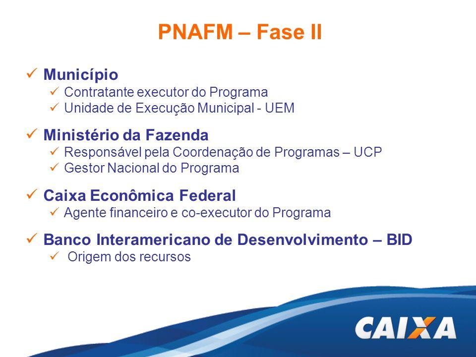 PNAFM – Fase II Município Contratante executor do Programa Unidade de Execução Municipal - UEM Ministério da Fazenda Responsável pela Coordenação de P